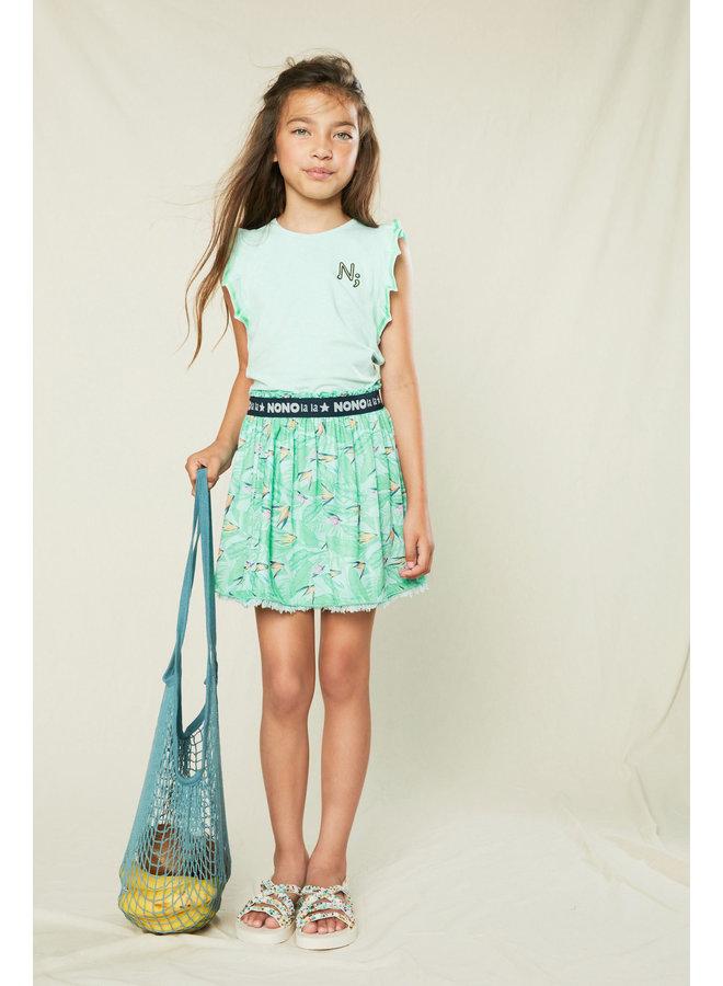 Nele - Reversible skirt Parrot Leaves on mesh - So Fresh