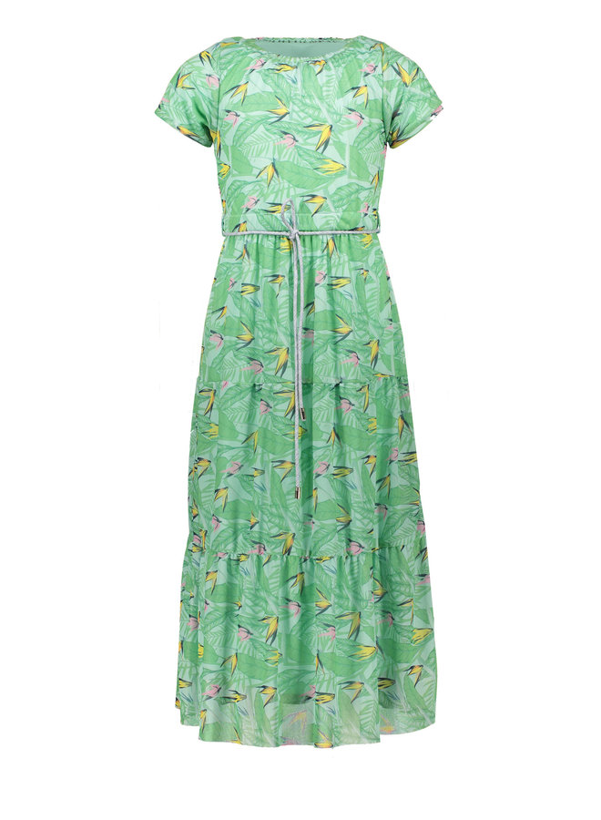 Mirthy - 7/8 length dress with ssl in Parrot leaves on mesh - So Fresh