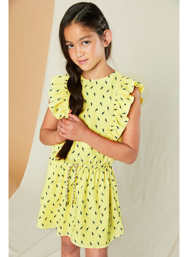 Myrthe - Dres with Capsleeves in Toucan AOP - Lime Light