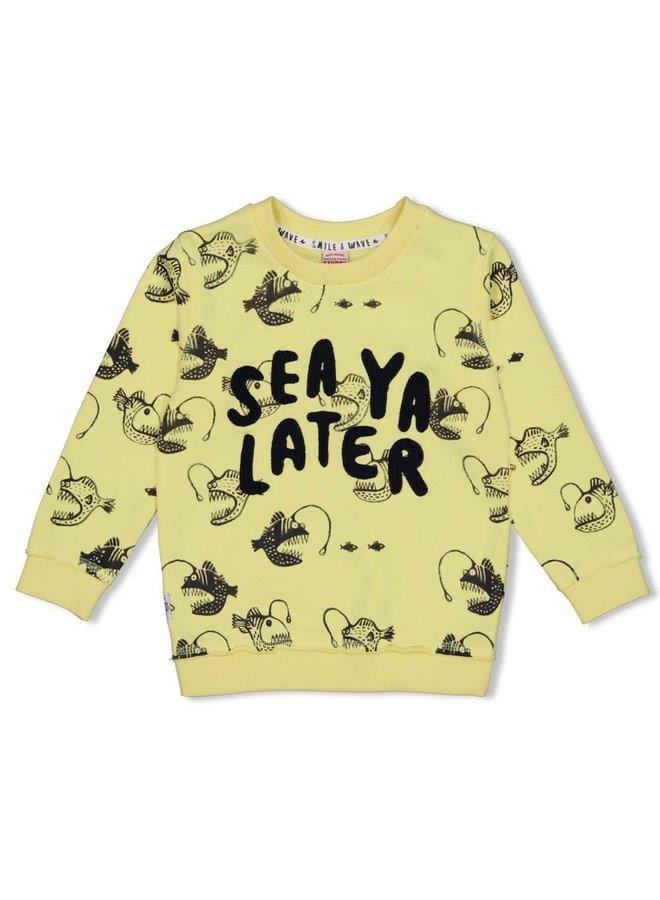 Sweater AOP - Smile & Wave - Geel