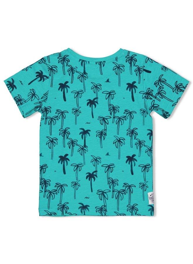 T-shirt AOP - Smile & Wave - Mint