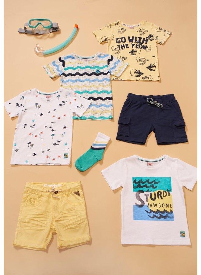 T-shirt AOP - Smile & Wave - Geel