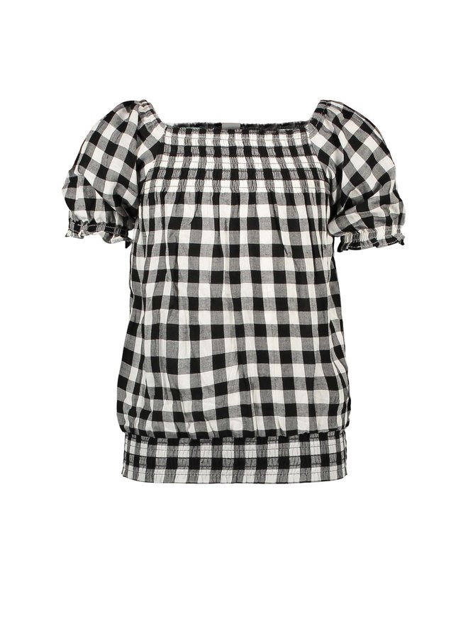 Girls - Check Woven Top - Sunny Black / White AOP