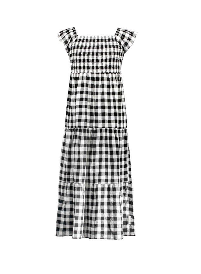 Girls - Check woven dress - Sunny black / white AOP
