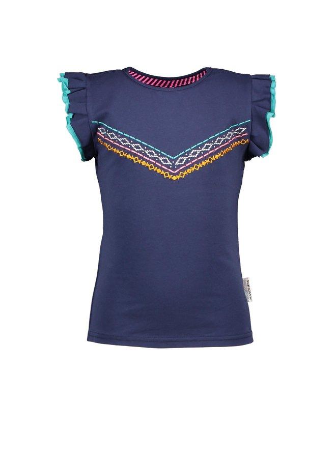 Girls - T-shirt with V-shaped em - Space Blue