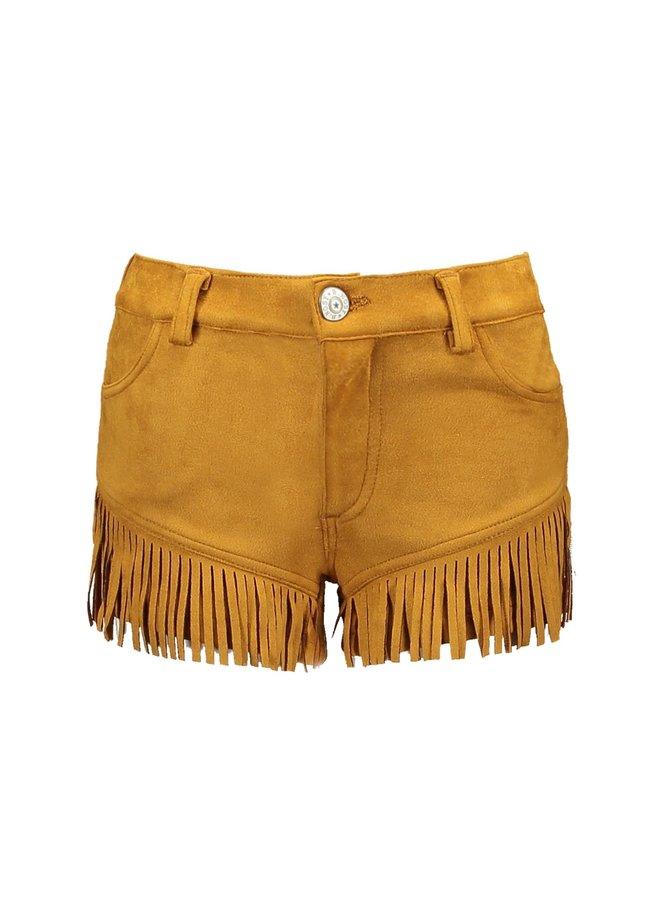 Girls - Fake Suede shorts - Melee Print Mustard