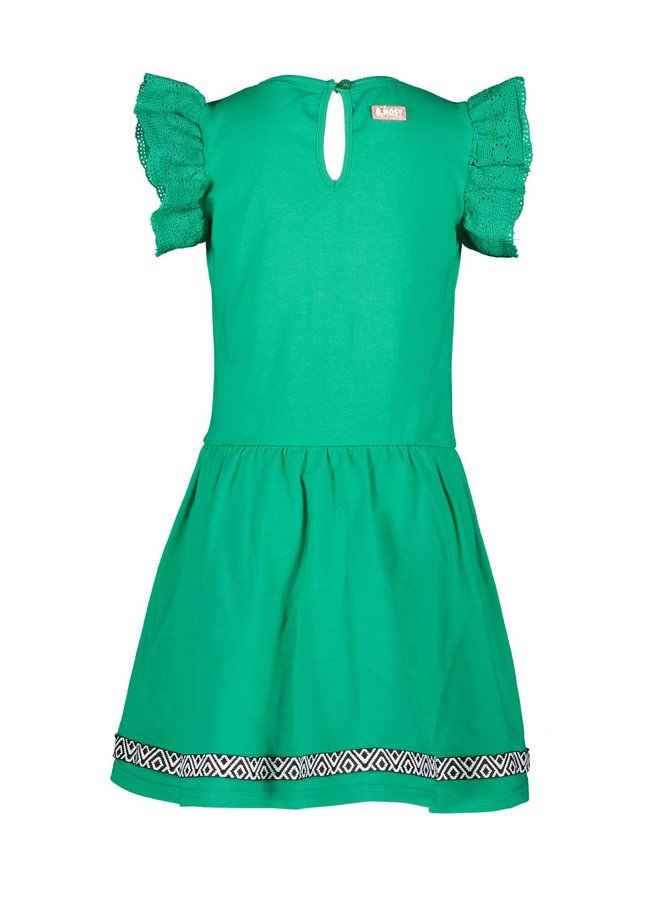 Girls - Jersey dress with lace fabric - Golf Green