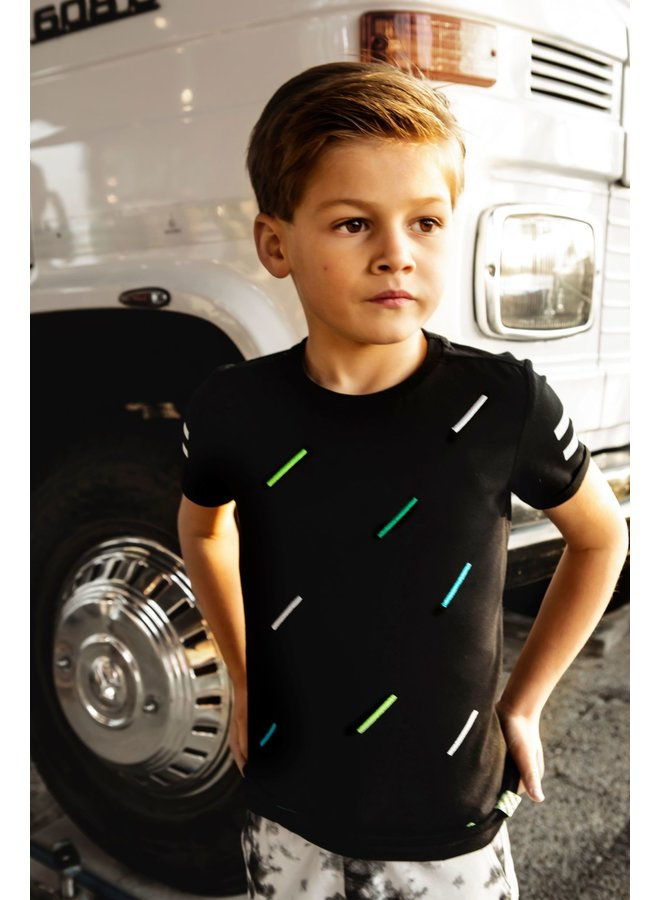 Boys - ss with multicolor stripe - Black