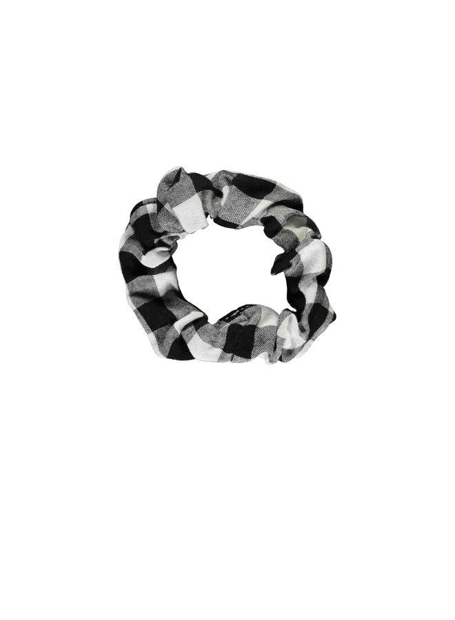 Girls - Check Fabric Scrunchie - Sunny Black / White AOP