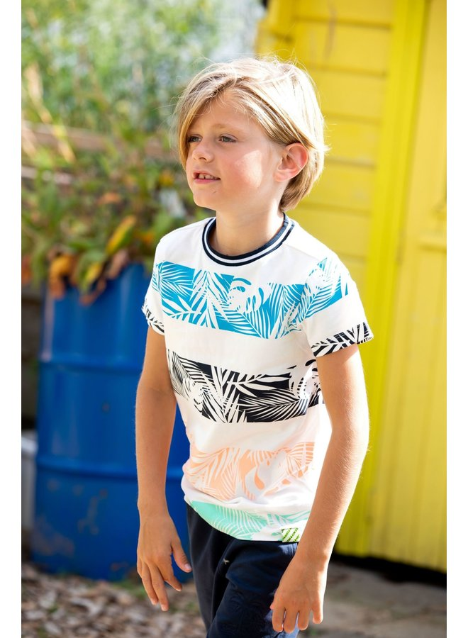 Boys - T-shirt with palm print stripes - Snow White
