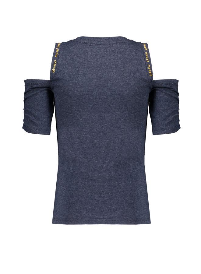 Keddy - Melange jersey t-shirt with cold shoulders - Grey Navy
