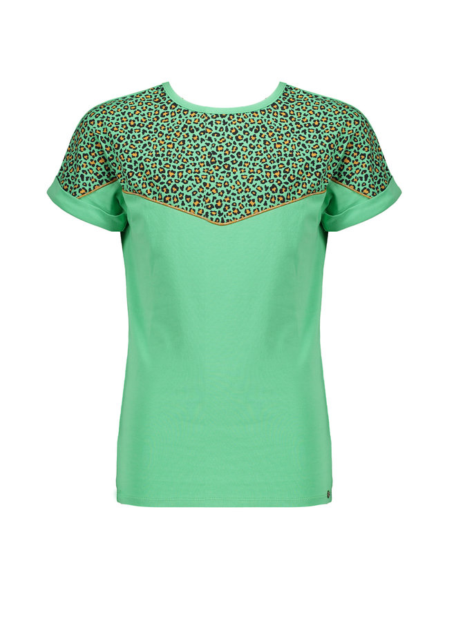 Kamil - T-shirt rolled up short sleeve with Leopard AOP contrast at chest - Copenhagen