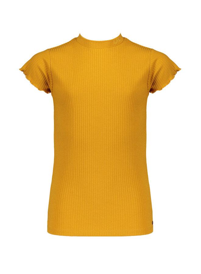 Kim - Rib jersey t-shirt cap sleeve - Safari Gold