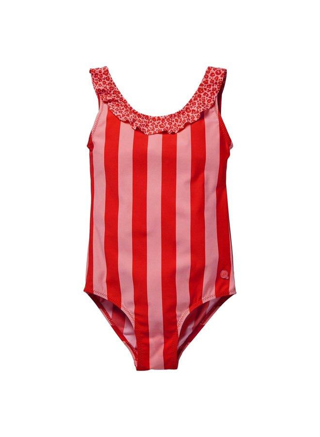 Flore - Bathing Suit - Fiery Red Stripe