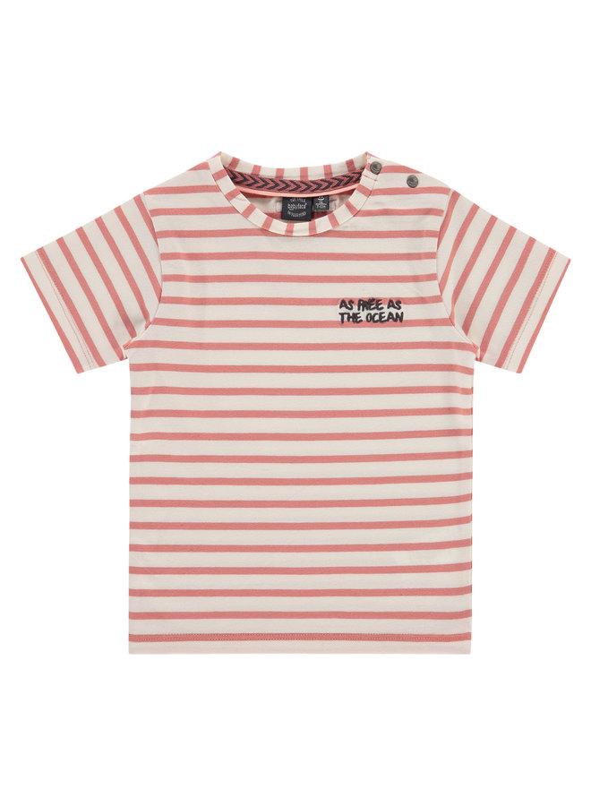 Boys T-shirt Short Sleeve - Striped Dark Salmon SS21
