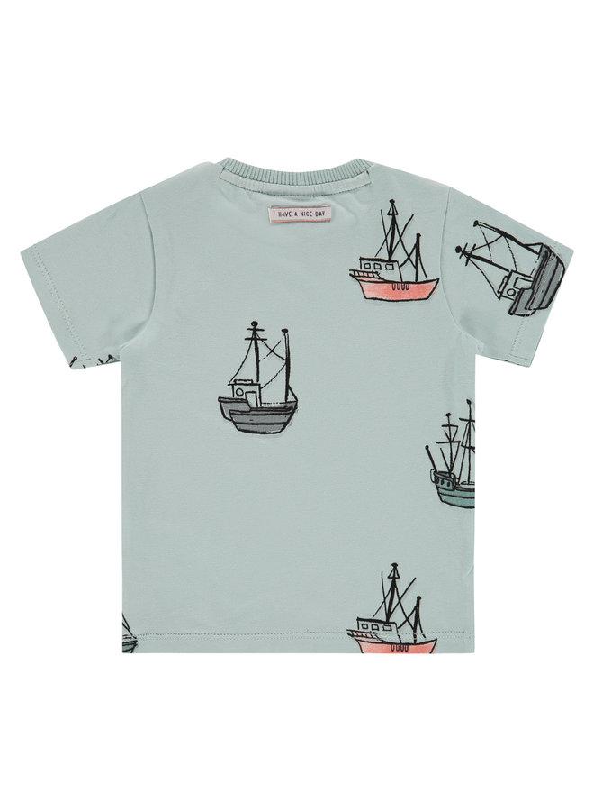 Boys T-shirt Short Sleeve - Grey Mint SS21