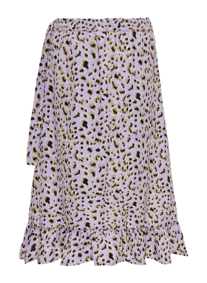 Lino Long Fake Wrap Skirt CS WVN - Lavender AOP
