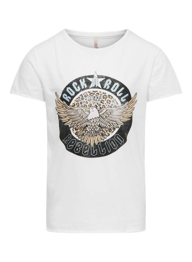Kids Only - Lucy Life Fit s/s Leo Rock Top - Bright White Print