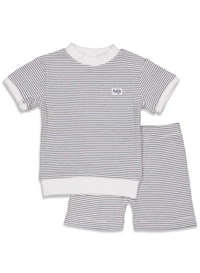 Feetje - Pyjama kort wafel - Marine - Limited Edition