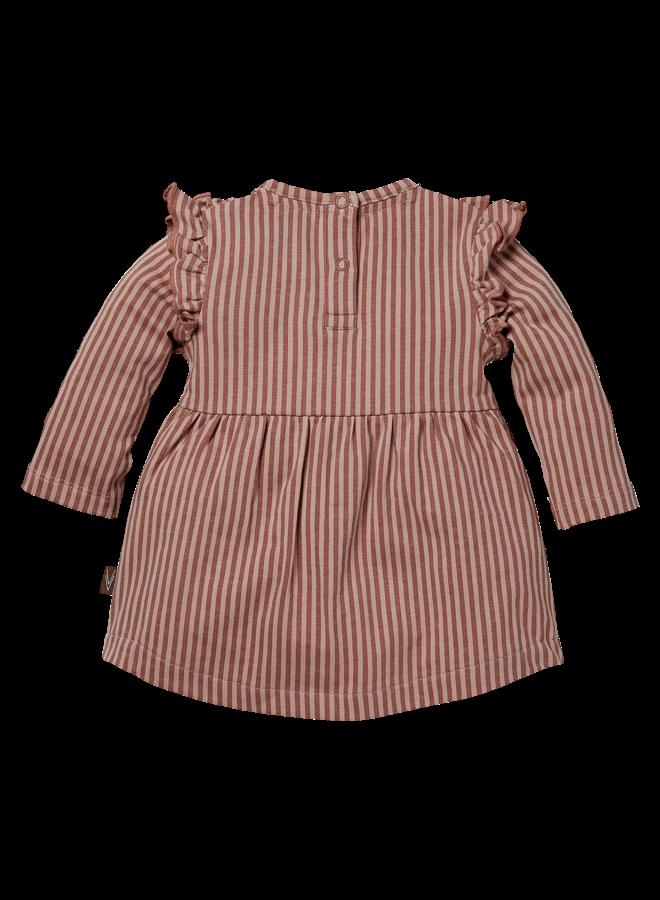Levv Newborn - Babs - Dress - AOP Mauve Stripe