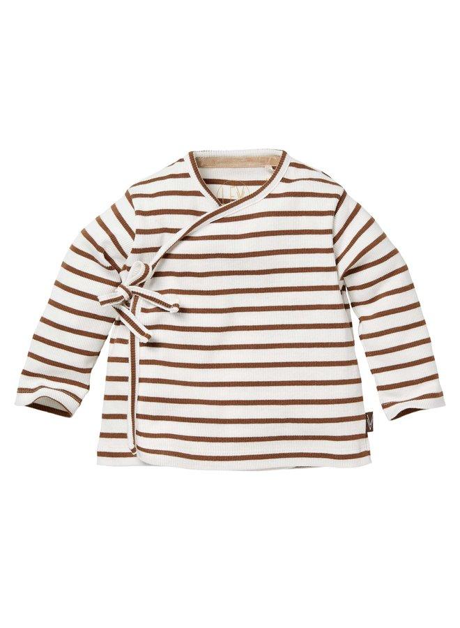 Levv Newborn - Bauke - Longsleeve - AOP Brown Almond Stripe