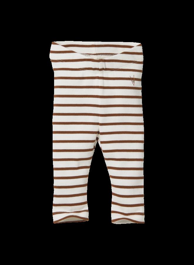 Levv Newborn - Beau - Legging - AOP Brown Almond Stripe