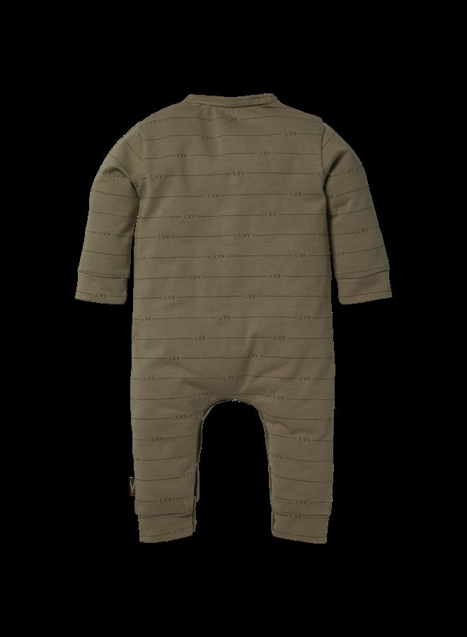 Levv Newborn - Bertus - Playsuit - AOP Green Tree LVV Stripe