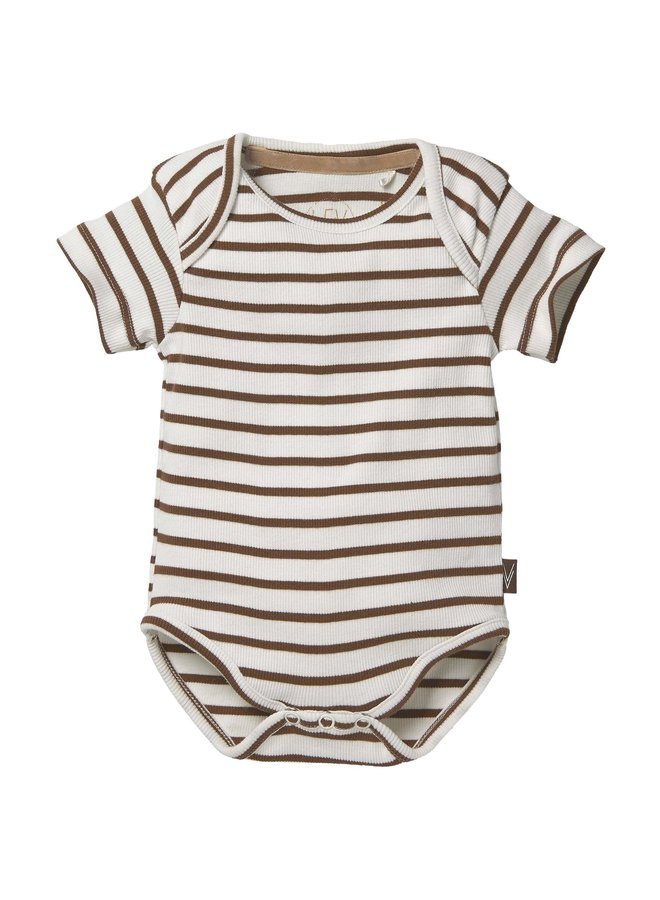 Levv Newborn - Bobbie - Bodysuit - AOP Brown Almond Stripe