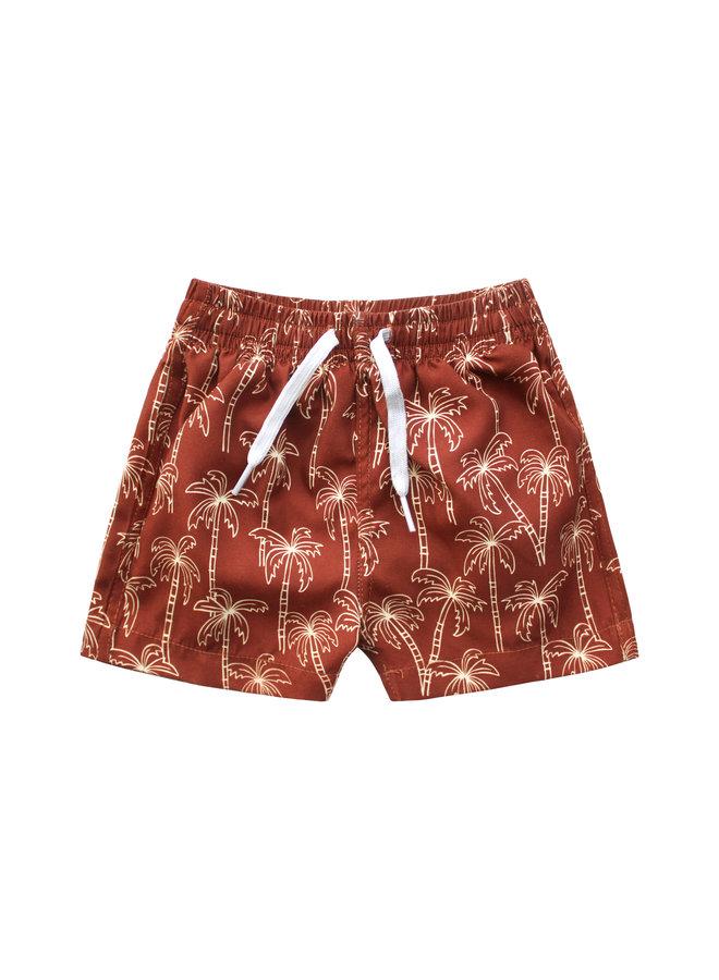 Your Wishes - Swim Shorts - Palm Trees - Dark Rust