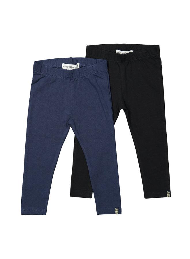 Girls 2 - Pack Legging - Navy / Black