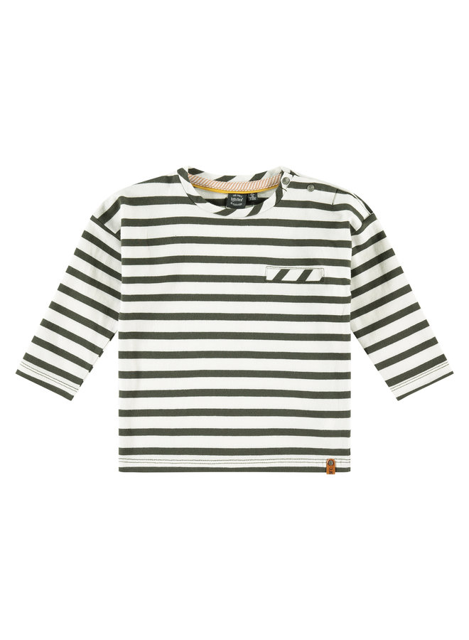 Boys T-shirt Long Sleeve - Stripe - Dark Green