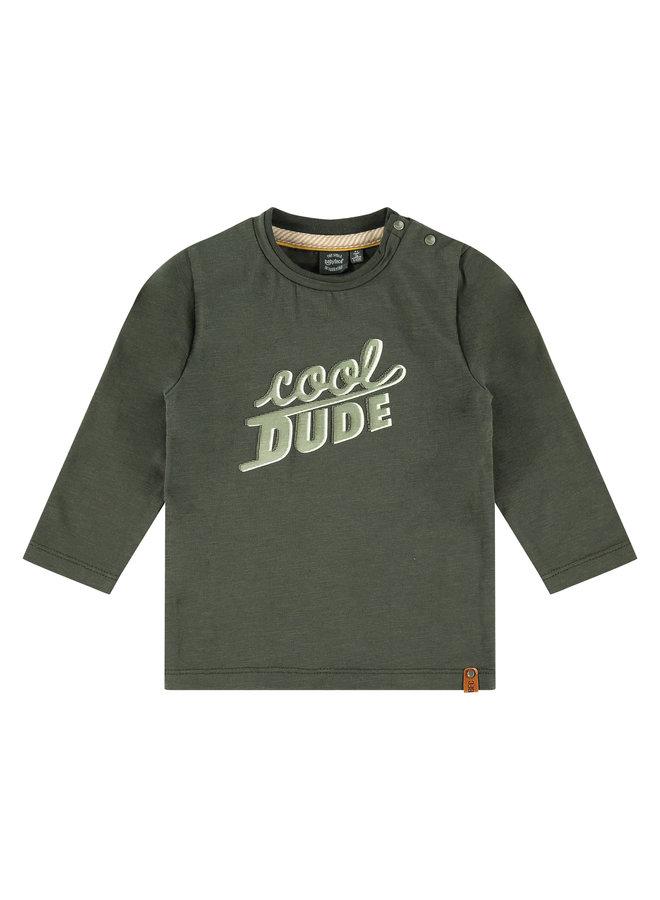 Boys T-shirt Long Sleeve - Cool - Dark Green
