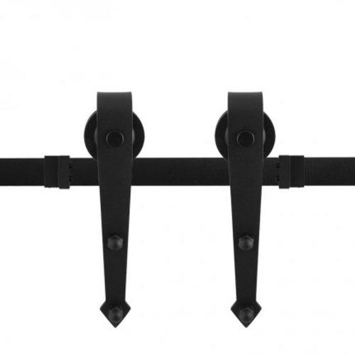Rustiek loftdeur schuifdeurbeslag zwart puntig model - lengte rail 200 cm