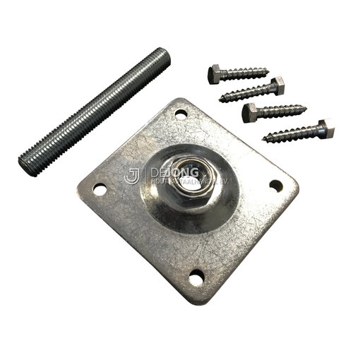 Stelplaat t.b.v. betonpoer met scharniermoer - incl. houtdraadbouten en anker M16