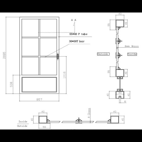 Stalen schuifdeur - 6 vaks - 95,7 x 209,5 cm