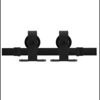 Rustiek loftdeur schuifdeurbeslag zwart voor bovenmontage - lengte rail 200 cm
