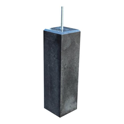 Prefab betonpoer - Antraciet glad met velling - 17 x 17 x 58 cm (t.b.v. paal 15 x 15)