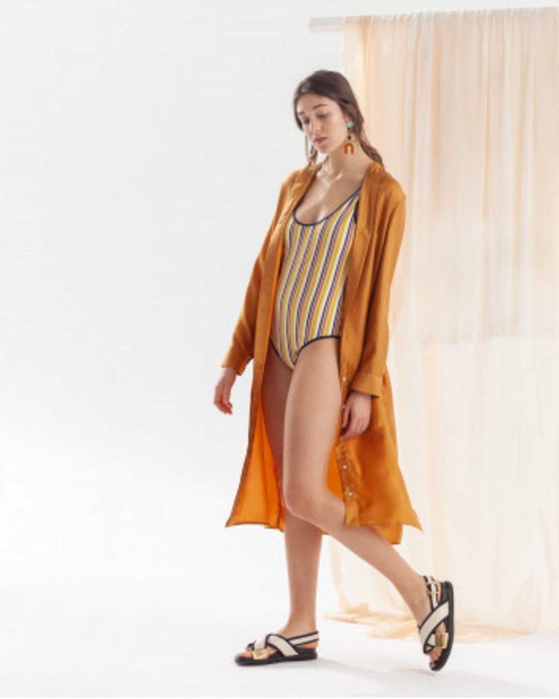 Chloe Stora golden dress in silk