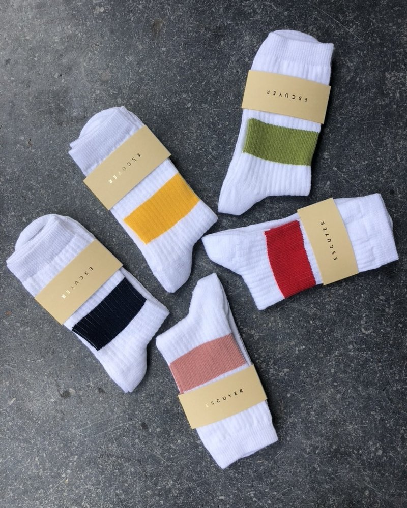Escuyer white melange band sokken