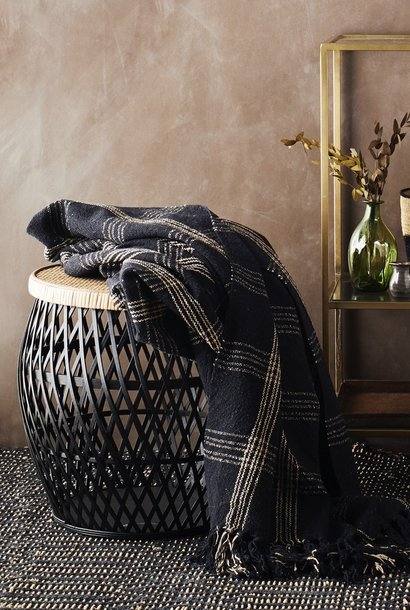 woven throw black