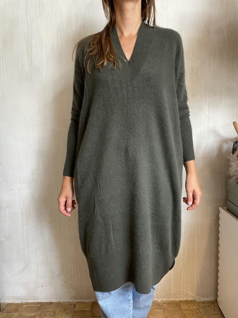 cashmere dress khaki-1