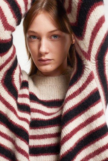 knit  stripe bordeau