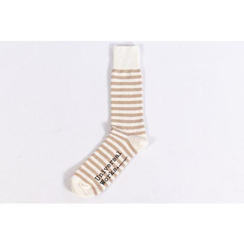 Universal Works Universal Works Sock / Stripe Sock / white