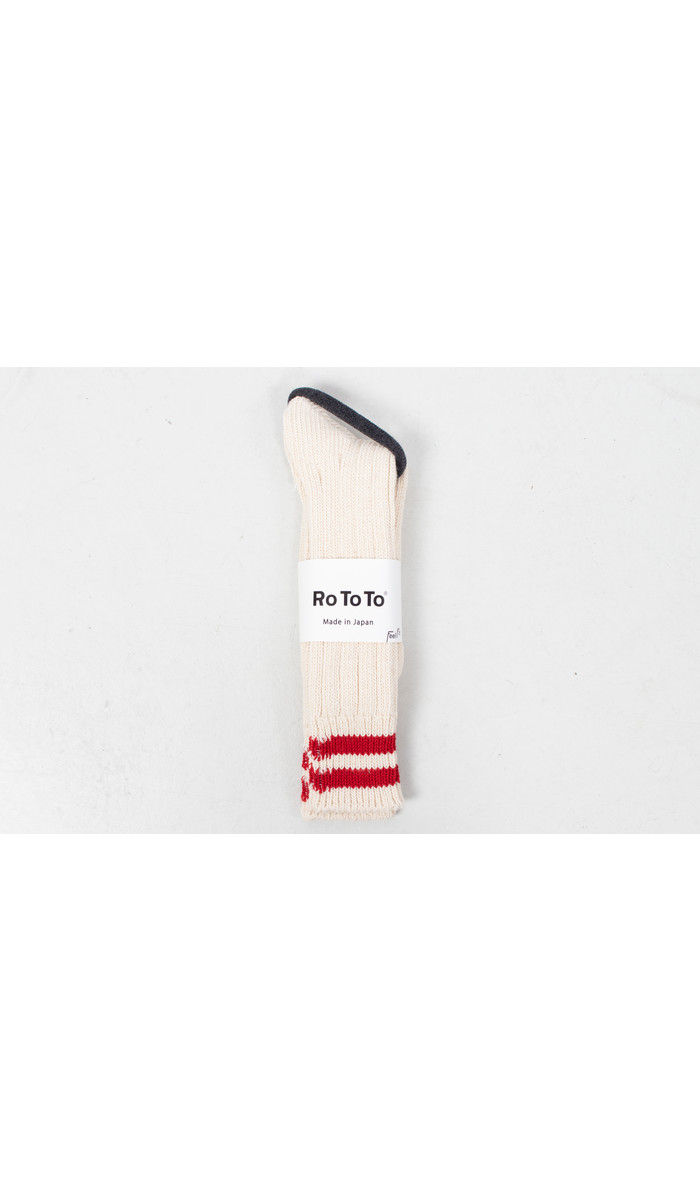 RoToTo RoToTo Sok / Low Raw / Ecru - Rood