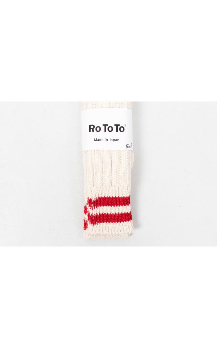 RoToTo RoToTo Sock / Low Raw / Ecru - Red