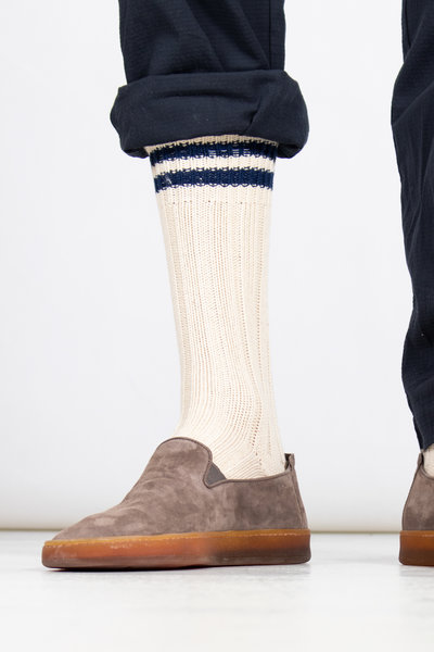 RoToTo RoToTo Sock / Low Raw / Ecru - Navy