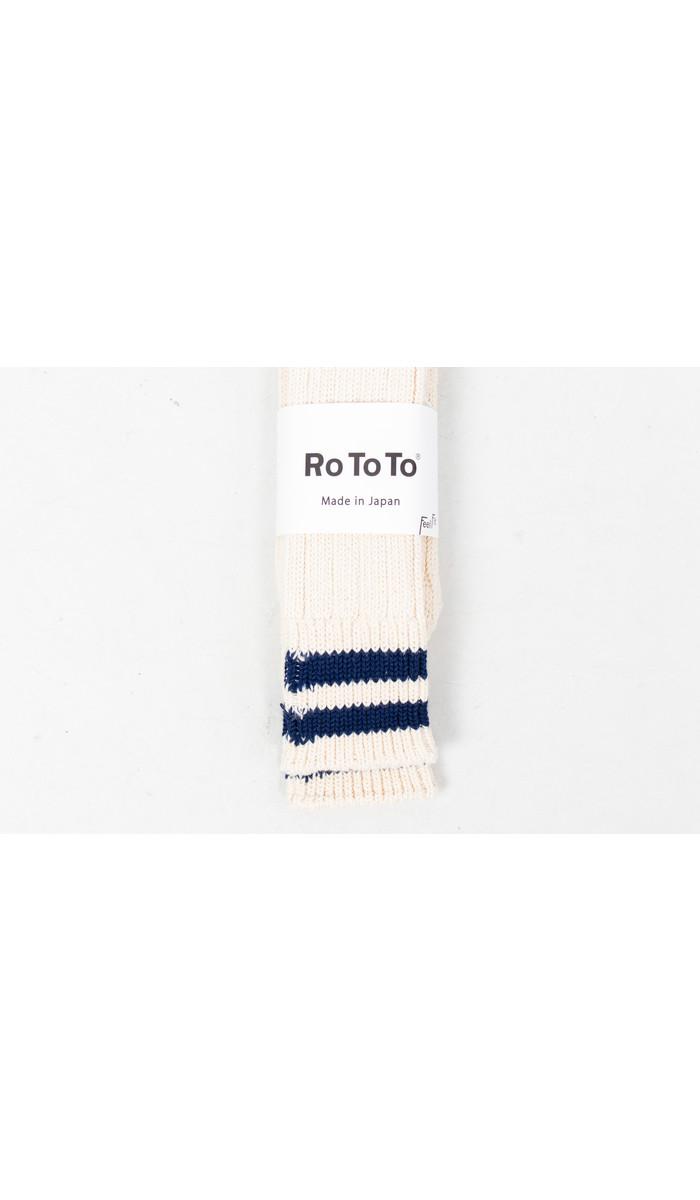 RoToTo RoToTo Sok / Low Raw / Ecru - Navy