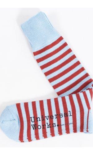 Universal Works Universal Works Sock / Stripe Sock / Blue