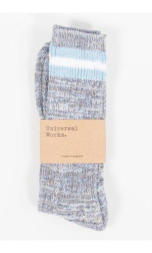 Universal Works Universal Works Sok / Everyday Stripe Sock / Blauw