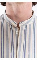 Delikatessen Shirt / Mao Collar Shirt / White Blue